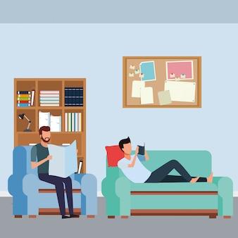 Gesichtslose männer, die wohnzimmer lesen