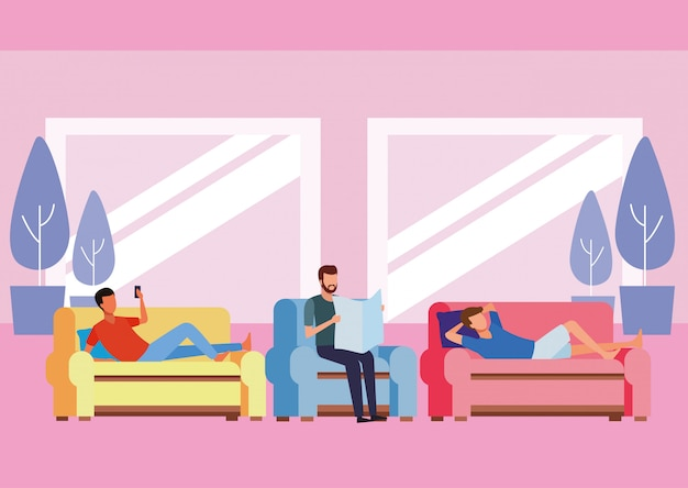 Gesichtslose menschen entspannen sich im wohnzimmer