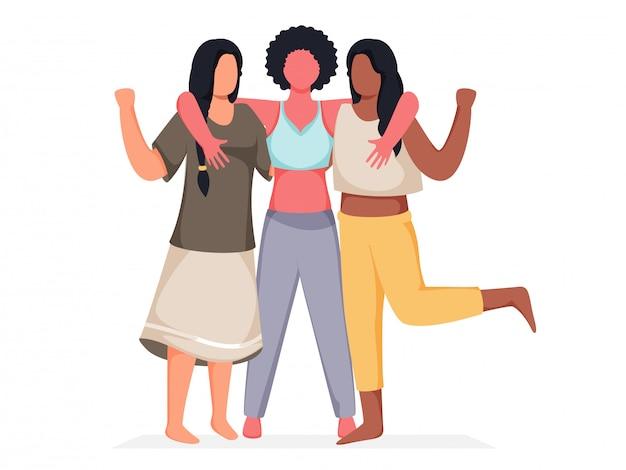 Gesichtslose weibliche gruppe, die zusammen auf weißem hintergrund umarmt.