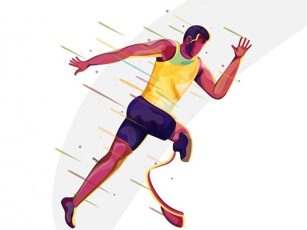 Gesichtsloser behinderter mann, der schnell läuft