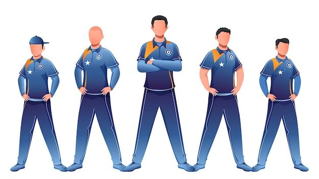 Gesichtsloser charakter des cricket-teams in stehender pose.