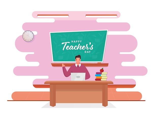 Gesichtsloser lehrer, der vom laptop mit der glücklichen lehrertags-schrift auf grüner tafel im klassenzimmer unterrichtet.