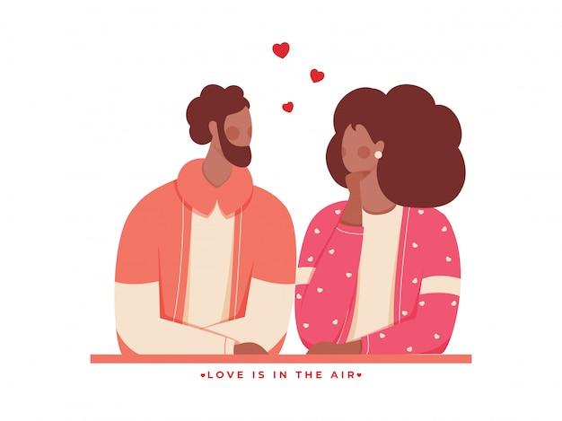Gesichtsloser liebespaar-charakter und gegebene botschaft als liebe liegt in der luft