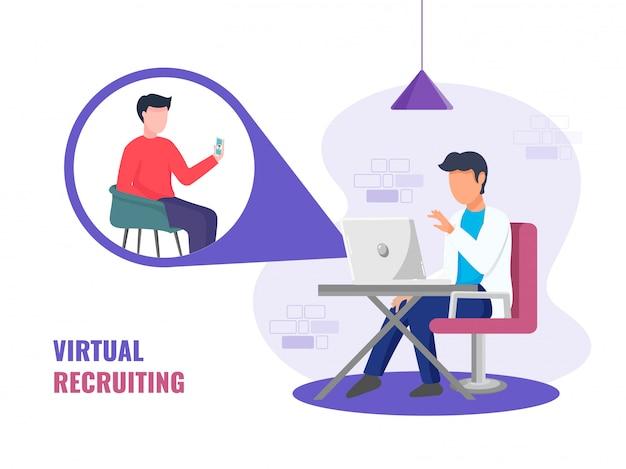 Gesichtsloser mann, der videoanrufe zu einer anderen person von digitalen geräten für virtuelles rekrutierungskonzept nimmt.