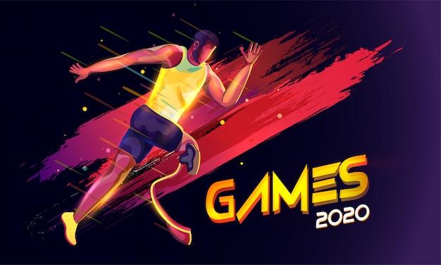 Gesichtsloser paralympischer mann, der mit lichteffekt und pinselstricheffekt auf schwarzen olympischen spielen 2020 läuft.