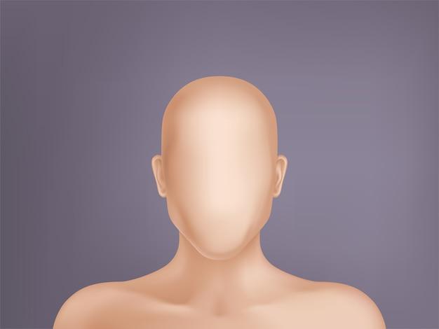 Gesichtsloses menschliches modell, leere attrappe, teil des männlichen oder weiblichen körpers lokalisiert auf hintergrund.