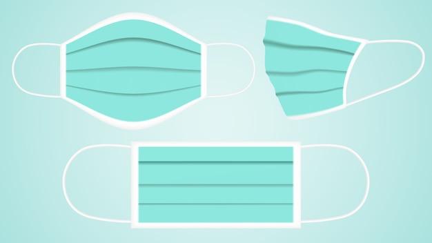 Gesichtsmaske, atemmaske, krankenhausatmung vektor der medizinischen schutzmaske
