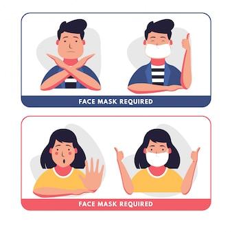 Gesichtsmaske erforderlich flach
