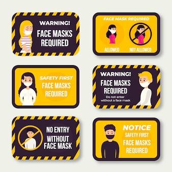 Gesichtsmaske erforderlich zeichen pack thema