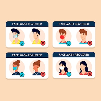 Gesichtsmaske erforderlich zeichenpaket konzept