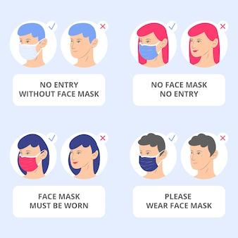 Gesichtsmaske erforderlich zeichenpaket