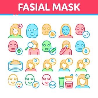 Gesichtsmaske-gesundheitswesen-sammlungs-ikonen eingestellt