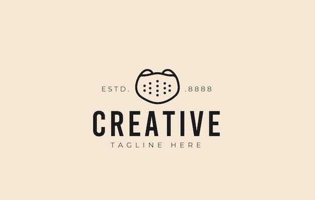 Gesichtsmaske-logo-design vektor-illustration der minimalistischen gesichtsmaske mit frontansicht-icon-design