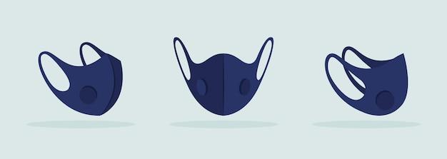 Gesichtsmaske mit atemventil schwarz mockup. gesichtsbedeckung. persönlicher gesundheitsschutz. sicher und angenehm zu tragen. moderne artikel-cliparts. isolierte designvorlage auf grauem hintergrund
