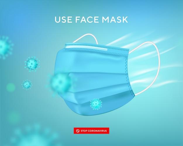 Gesichtsmaske verwenden. virenschutzbanner. realistische medizinische gesichtsmaske. chirurgische maske gegen keime, virus covid-19, bakterien, staub, schleim und speichel. stoppen sie die ausbreitung von keimen beim niesen und husten.
