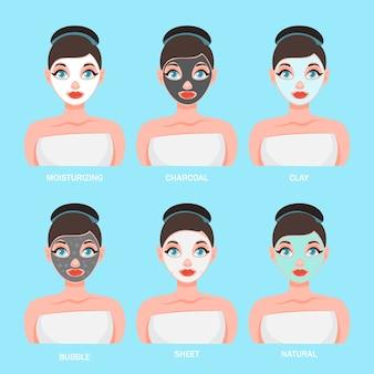 Gesichtsmasken-set. sammlung von frau mit verschiedenen