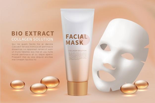 Gesichtsmaskenblatt. kosmetische hautpflege und natürliche schönheitsanzeige mit feuchtigkeitsspendender gesichtsmaske
