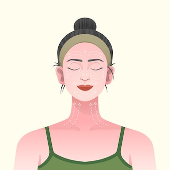 Gesichtsmassagetechnikillustration mit frau