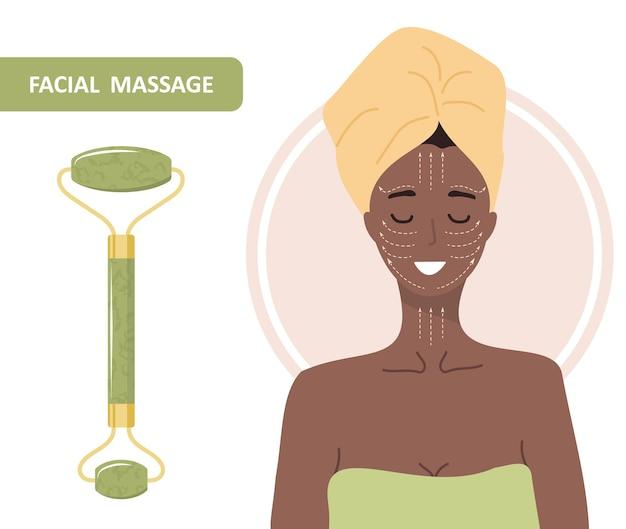 Gesichtsroller aus jade. chinesische gua-sha-massage.