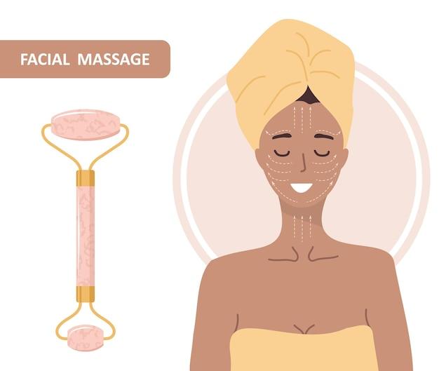 Gesichtsroller aus quarz. chinesische gua-sha-massage.