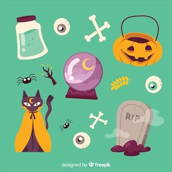 Gespenstische dekoration für halloween-sammlung