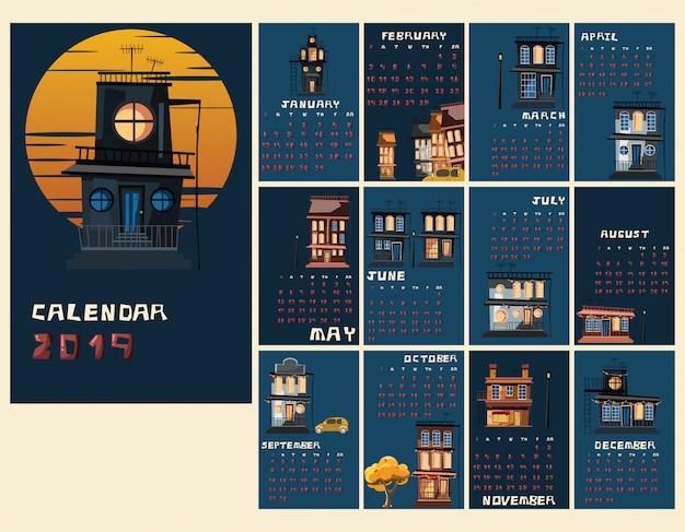 Gespenstische gebäudevektorillustration des kalender-neue jahre 2019