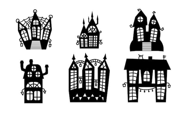 Gespenstische häuser set isolierte vektor-illustration halloween-häuser-sammlung