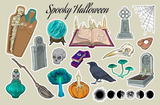Gespenstische halloween-aufkleber-set handgezeichnete vektor-illustration auf hintergrund isoliert