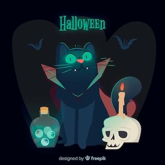 Gespenstische halloween-katze mit flachem design