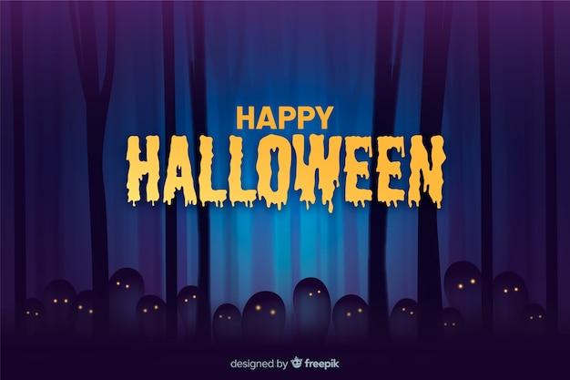 Gespenstische halloween-nacht im waldhintergrund
