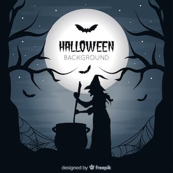 Gespenstischer halloween-hintergrund mit flachem design
