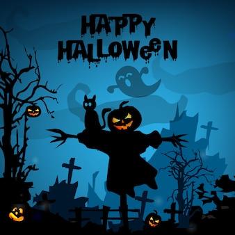 Gespenstischer halloween-hintergrund mit kürbisen in einem kirchhof
