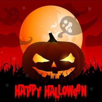 Gespenstischer halloween-hintergrund mit kürbisen