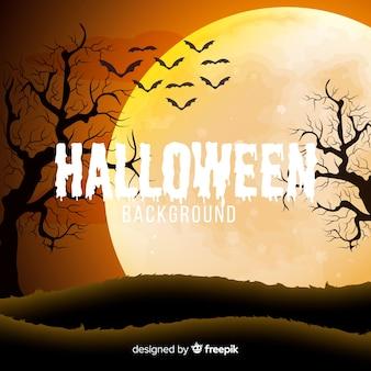 Gespenstischer halloween-hintergrund mit realistischem design