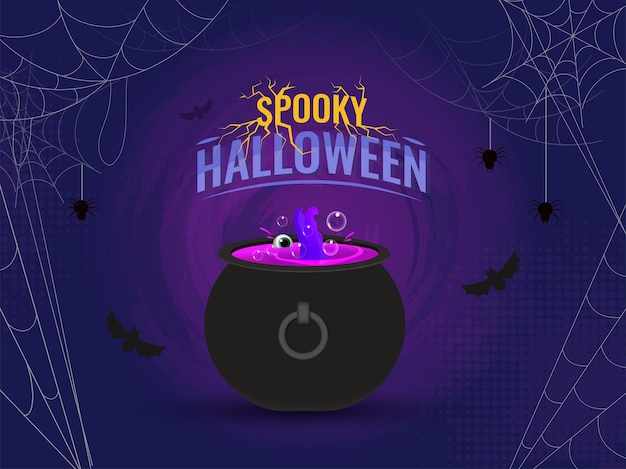Gespenstischer halloween-hintergrund mit spinnennetz, fliegenden fledermäusen und magischer kessel-topf-illustration.