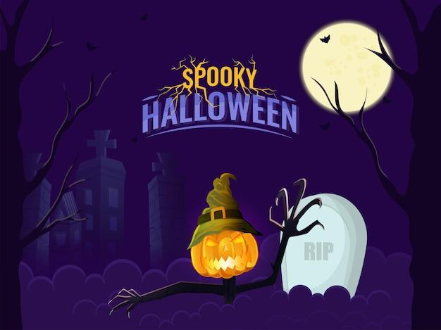 Gespenstischer halloween-hintergrund mit vollmond, jack-o-lantern wear hexenhut, spukgebäuden und rip-stein-illustration.