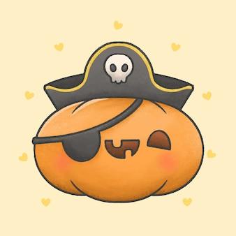 Gespenstischer kürbis mit gezeichneter art der piratenkostümkarikatur hand