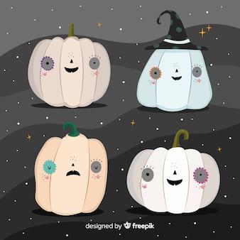 Gespenstischer kürbis stellt halloween-sammlung gegenüber