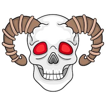 Gespenstischer schädel mit einem rachsüchtigen rotäugigen horn. vektor-illustration-design-kunst