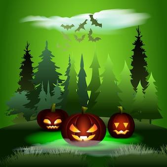 Gespenstischer wald. halloween-kürbis-gesichts-illustration