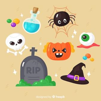 Gespenstisches element flacher halloween-sammlung