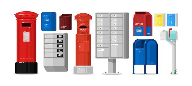 Gesperrte postfachbox für korrespondenz und newsletter-set. postbriefbriefkasten, der an der wand oder an der säule für die zustellung gehängter brief, magazin, rechnungsvektorillustration lokalisiert auf weißem hintergrund hängt