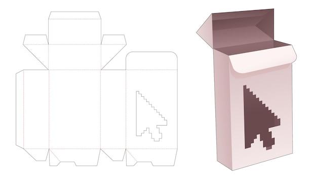 Gesperrter punktkasten mit pfeilförmigem fenster in gestanzter vorlage im pixel-art-stil
