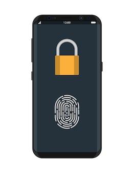 Gesperrtes smartphone mit vorhängeschloss und fingerabdruck