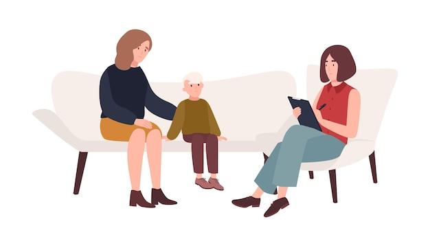 Gespräch zwischen mutter, kind und psychologin oder psychotherapeutin. familienpsychotherapie, psychotherapeutische hilfe für kinder mit psychischen problemen. flache cartoon-vektor-illustration.