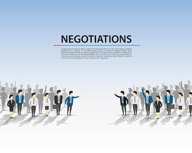 Gespräche einer menschenmenge auf blauem hintergrund. vektor-illustration