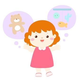 Gesprächige lebhafte karikatur des kleinen mädchens gesprächiger