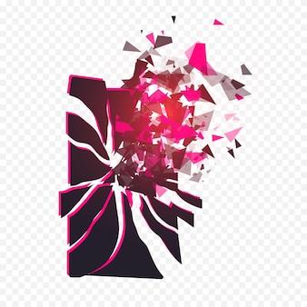 Gesprungener telefonbildschirm zerbricht in stücke zerbrochenes smartphone, das durch die explosion auf transparenter ba...