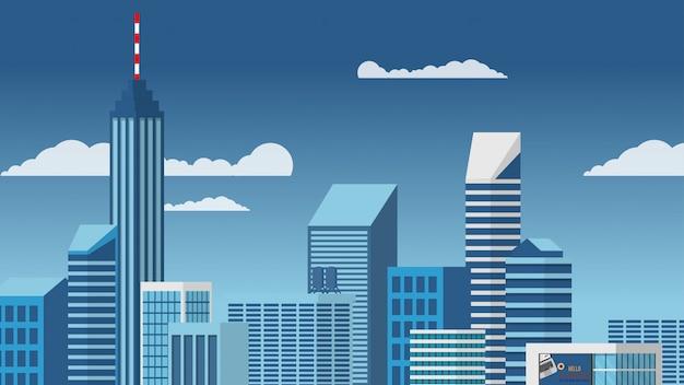 Gestalten sie ansicht des hohen wolkenkratzergebäudes des stadtzentrums in der minimalen vektorart des blauen tones landschaftlich
