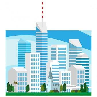 Gestalten sie ansicht des hohen wolkenkratzergebäudes des stadtzentrums in der minimalen vektorart landschaftlich
